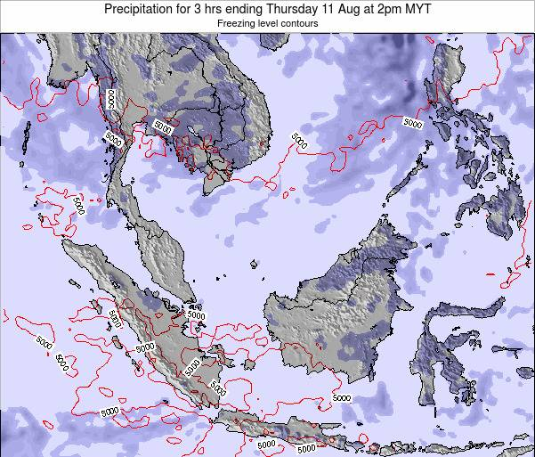 Singapore Precipitation for 3 hrs ending Tuesday 10 Dec at 2am MYT map