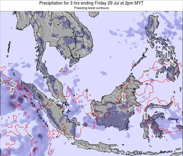 Brunei Darussalam Precipitation for 3 hrs ending Thursday 30 May at 2pm MYT map