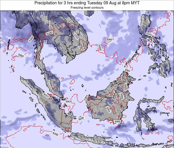 Singapore Precipitation for 3 hrs ending Tuesday 05 Aug at 8pm MYT map