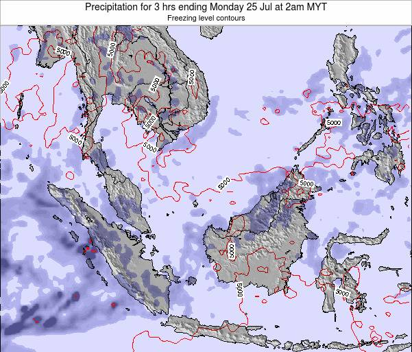 Brunei Darussalam Precipitation for 3 hrs ending Friday 24 May at 8pm MYT map