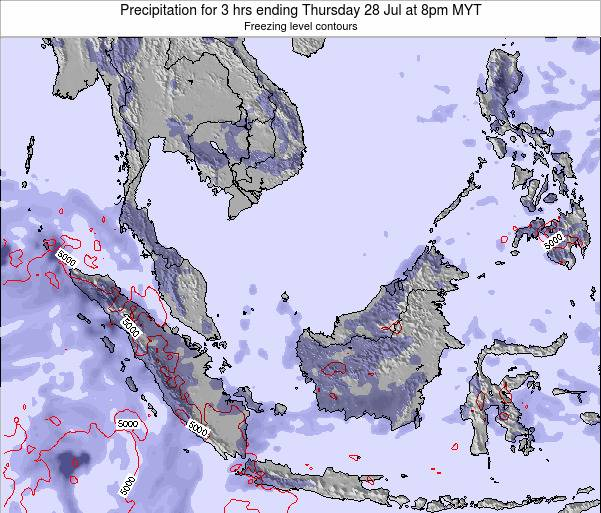 Malaysia Precipitation for 3 hrs ending Monday 28 Apr at 2pm MYT map