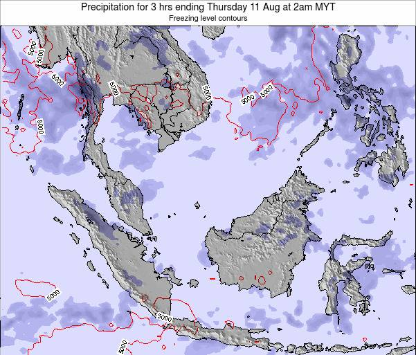 Malaysia Precipitation for 3 hrs ending Wednesday 12 Mar at 8pm MYT map