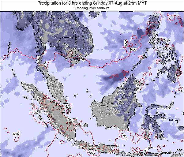 Malaysia Precipitation for 3 hrs ending Monday 04 Aug at 8pm MYT map