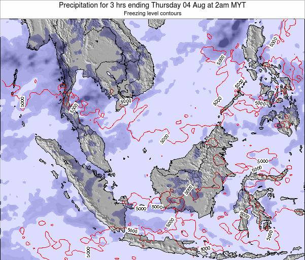 Malaysia Precipitation for 3 hrs ending Monday 28 Jul at 2am MYT map