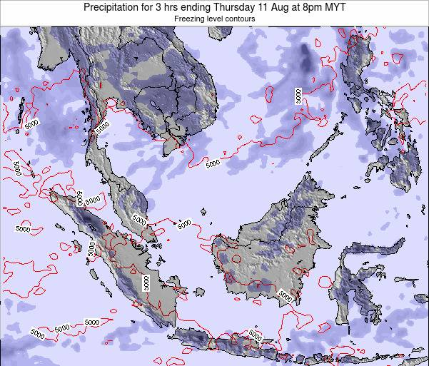 Malaysia Precipitation for 3 hrs ending Thursday 13 Mar at 8pm MYT map