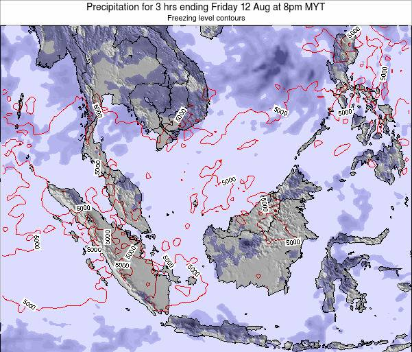 Malaysia Precipitation for 3 hrs ending Tuesday 05 Aug at 2pm MYT map