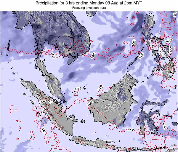 Brunei Darussalam Precipitation for 3 hrs ending Tuesday 25 Jun at 2pm MYT map