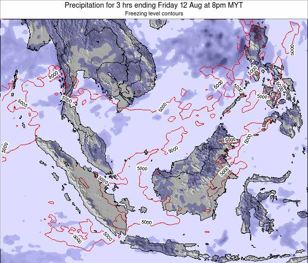 Brunei Darussalam Precipitation for 3 hrs ending Saturday 25 May at 2pm MYT map