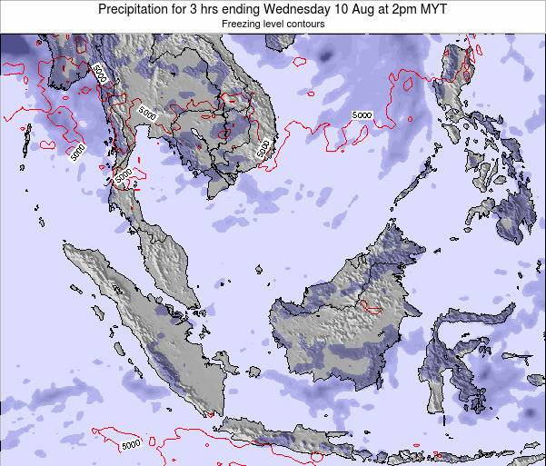 Brunei Darussalam Precipitation for 3 hrs ending Friday 24 May at 2pm MYT map