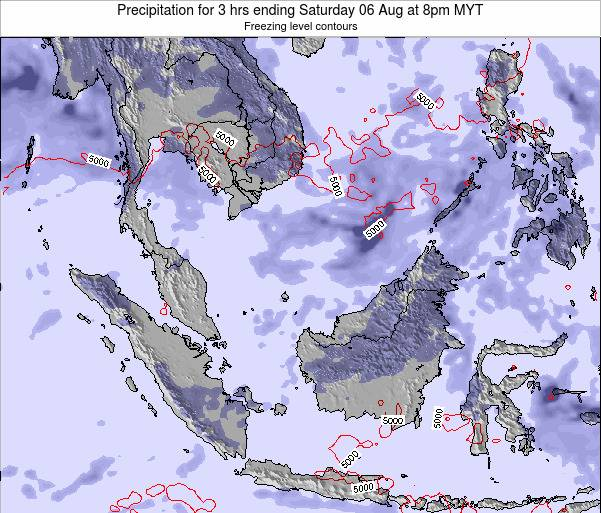 Singapore Precipitation for 3 hrs ending Saturday 08 Mar at 2pm MYT map