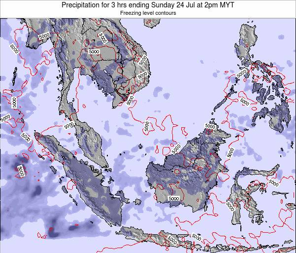 Brunei Darussalam Precipitation for 3 hrs ending Thursday 23 May at 8pm MYT map