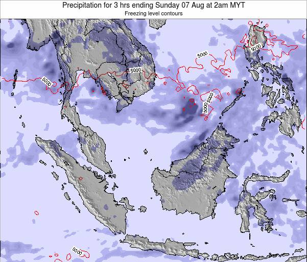 Malaysia Precipitation for 3 hrs ending Thursday 24 Jul at 2pm MYT map