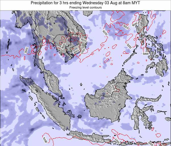 Malaysia Precipitation for 3 hrs ending Thursday 13 Mar at 2pm MYT map