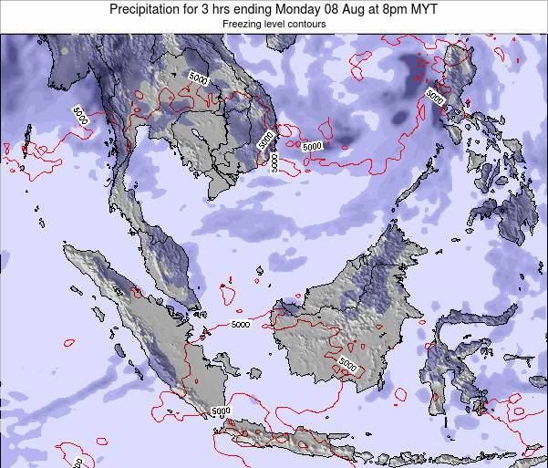 Malaysia Precipitation for 3 hrs ending Monday 23 Dec at 8am MYT map