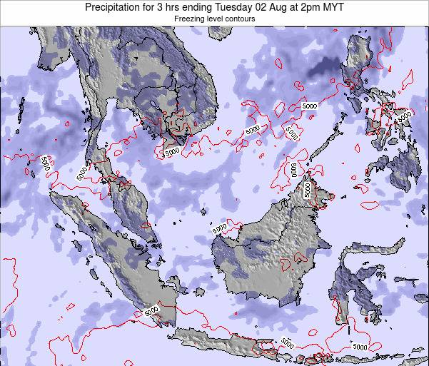 Malaysia Precipitation for 3 hrs ending Monday 21 Apr at 8am MYT map