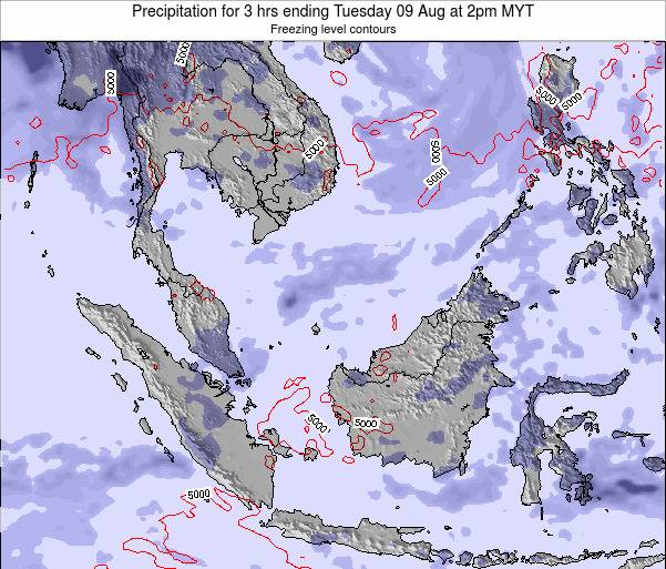 Malaysia Precipitation for 3 hrs ending Friday 14 Mar at 2am MYT map