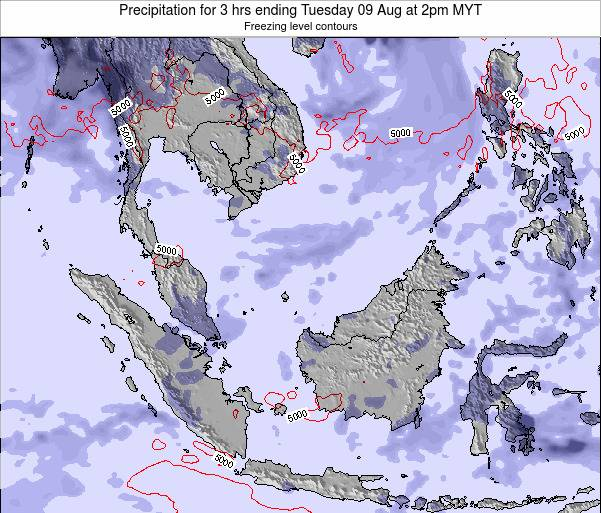 Malaysia Precipitation for 3 hrs ending Thursday 31 Jul at 2pm MYT