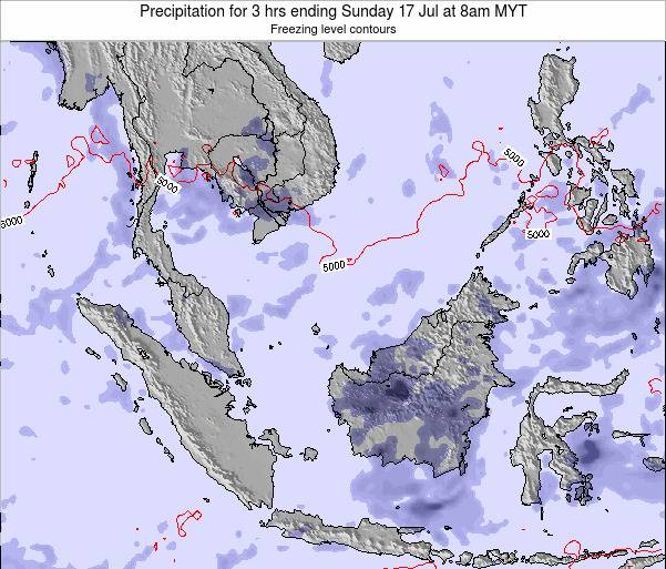 Malaysia Precipitation for 3 hrs ending Monday 21 Aug at 8am MYT