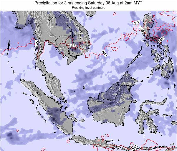Singapore Precipitation for 3 hrs ending Thursday 13 Mar at 2pm MYT map