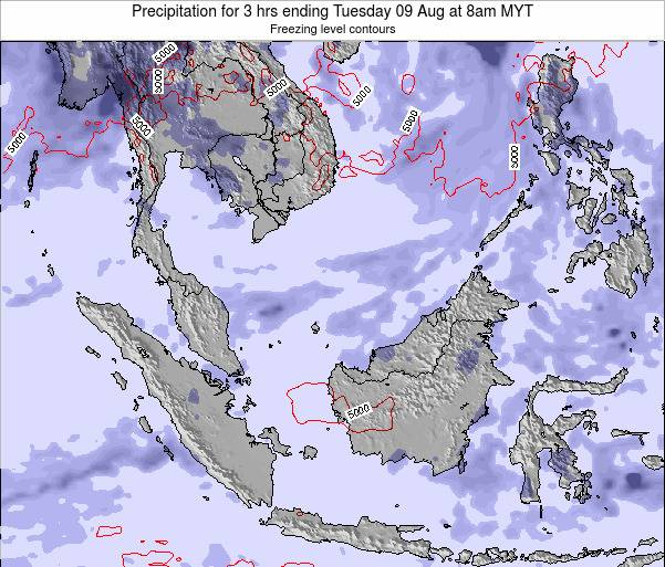 Brunei Darussalam Precipitation for 3 hrs ending Saturday 22 Jun at 2pm MYT map