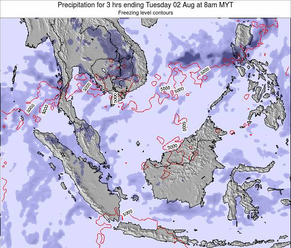 Singapore Precipitation for 3 hrs ending Sunday 27 Jul at 8pm MYT map