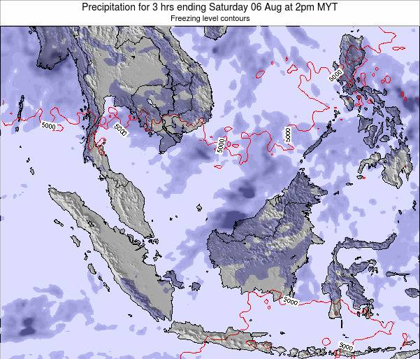 Singapore Precipitation for 3 hrs ending Saturday 02 Aug at 2pm MYT map