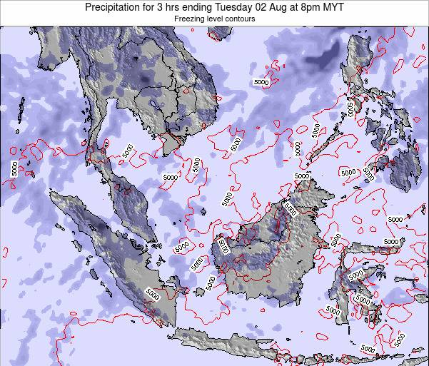 Malaysia Precipitation for 3 hrs ending Friday 01 Aug at 2am MYT map
