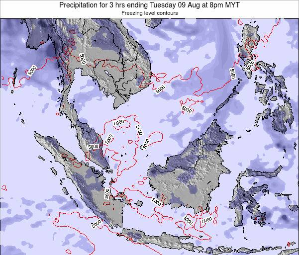 Malaysia Precipitation for 3 hrs ending Tuesday 11 Mar at 8am MYT map