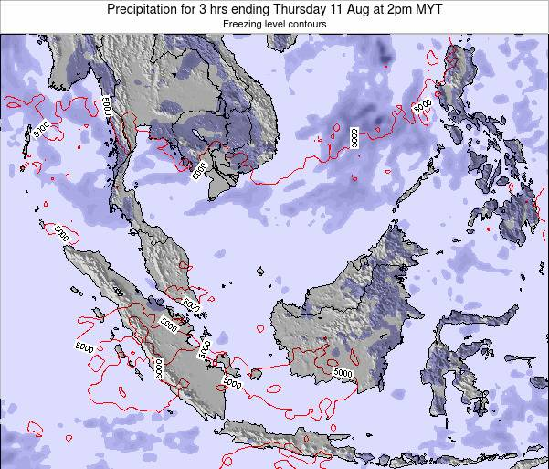 Singapore Precipitation for 3 hrs ending Wednesday 30 Jul at 8am MYT map