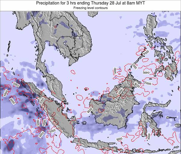 Singapore Precipitation for 3 hrs ending Monday 14 Jul at 8pm MYT map