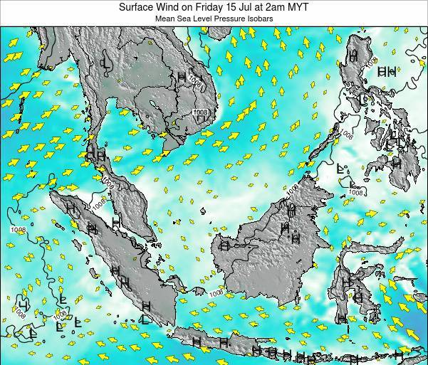 Malaysia Surface Wind on Tuesday 21 May at 2pm MYT