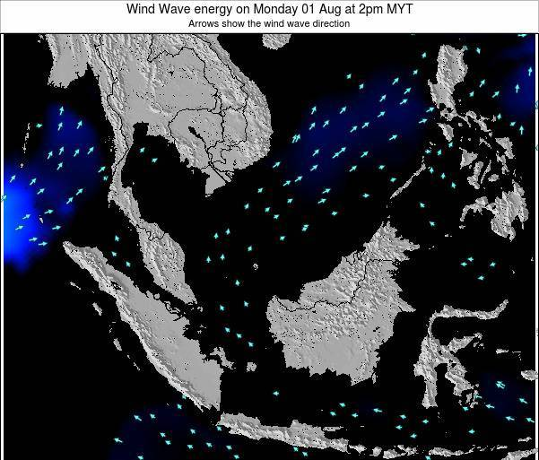 Brunei Darussalam Wind Wave energy on Sunday 03 Aug at 2pm MYT