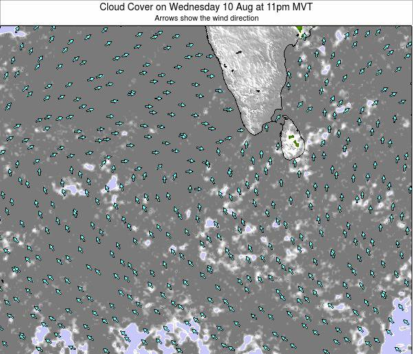 Sri Lanka Cloud Cover on Tuesday 25 Jun at 5pm MVT map