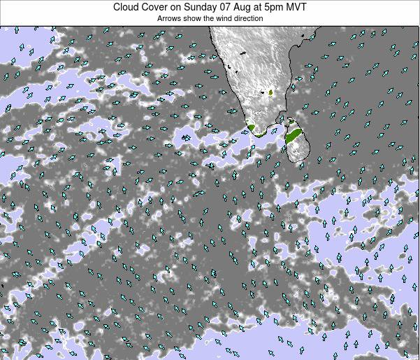 Maldives Cloud Cover on Saturday 25 Oct at 5pm MVT