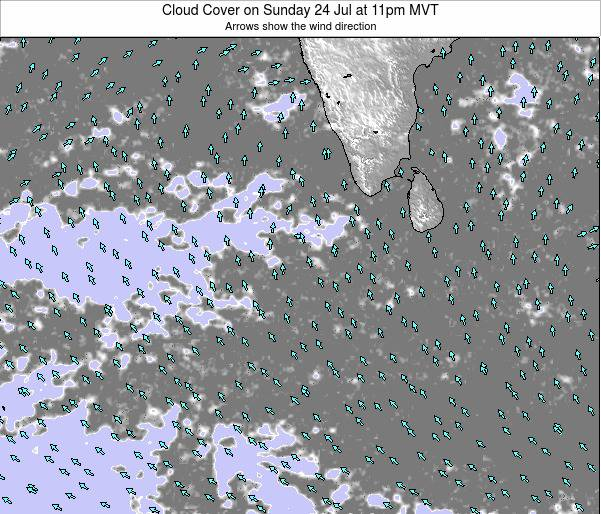 Maldives Cloud Cover on Tuesday 23 Sep at 11pm MVT