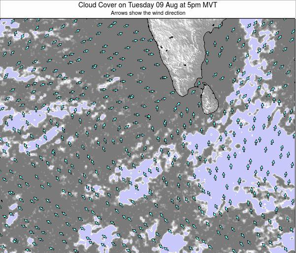 Maldives Cloud Cover on Tuesday 21 May at 11pm MVT