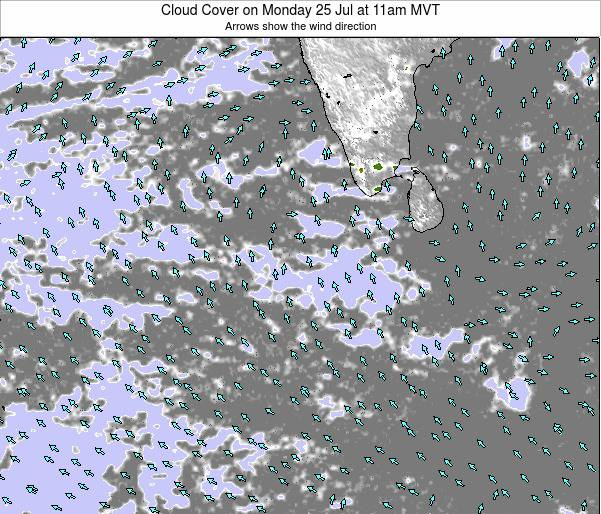 Maldives Cloud Cover on Sunday 26 May at 11pm MVT