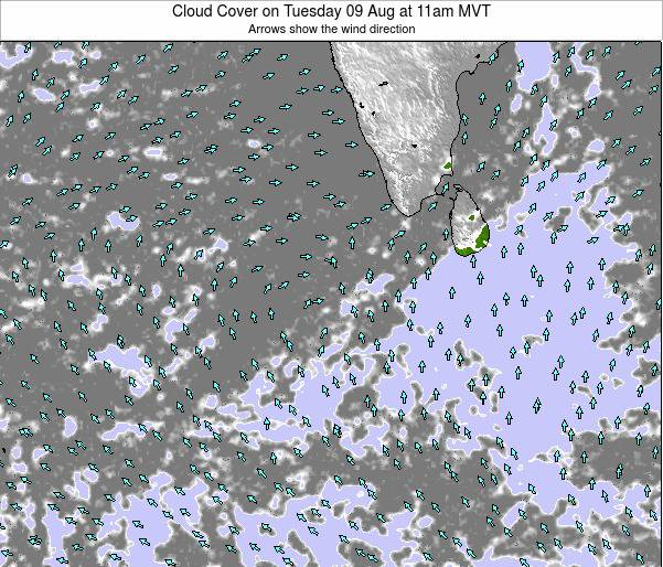 Sri Lanka Cloud Cover on Friday 24 May at 11pm MVT map