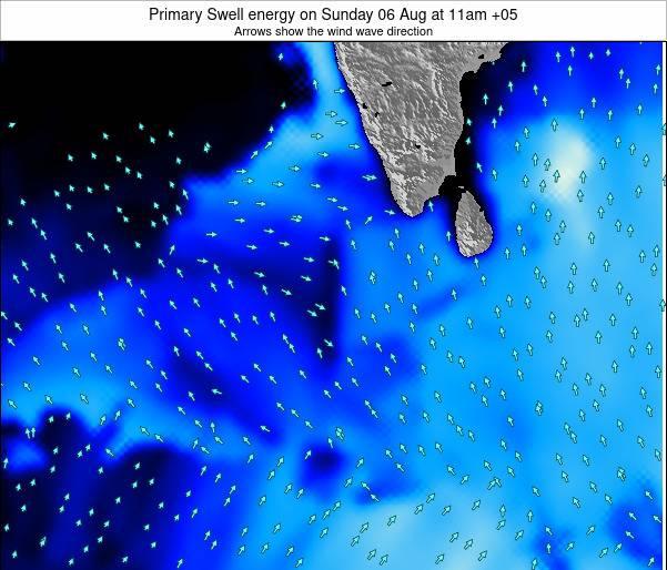 Sri Lanka Primary Swell energy on Sunday 23 Jun at 11am MVT map