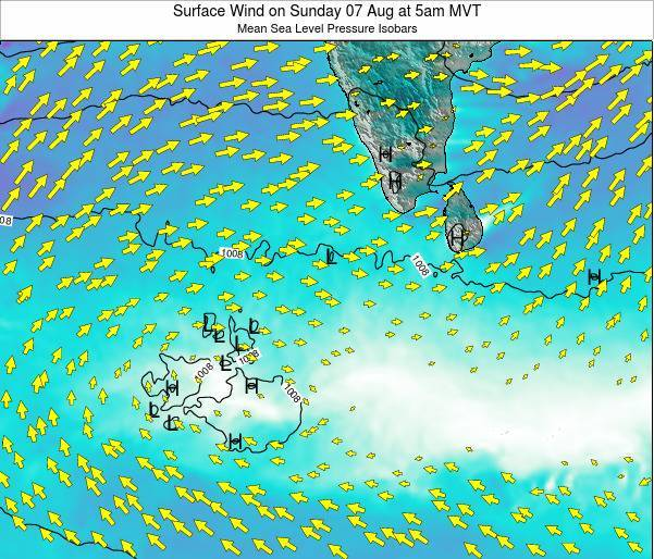 Maldives Surface Wind on Monday 21 Apr at 5pm MVT map