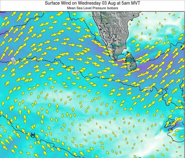 Maldives Surface Wind on Friday 25 Apr at 11am MVT map