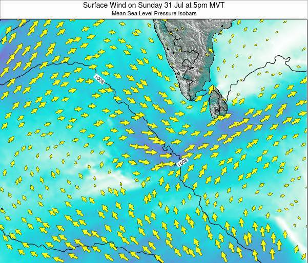 Maldives Surface Wind on Wednesday 12 Mar at 11pm MVT map
