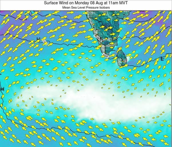 Maldives Surface Wind on Thursday 24 Jul at 11am MVT map
