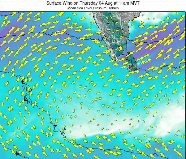 Sri Lanka Surface Wind on Thursday 23 May at 11pm MVT