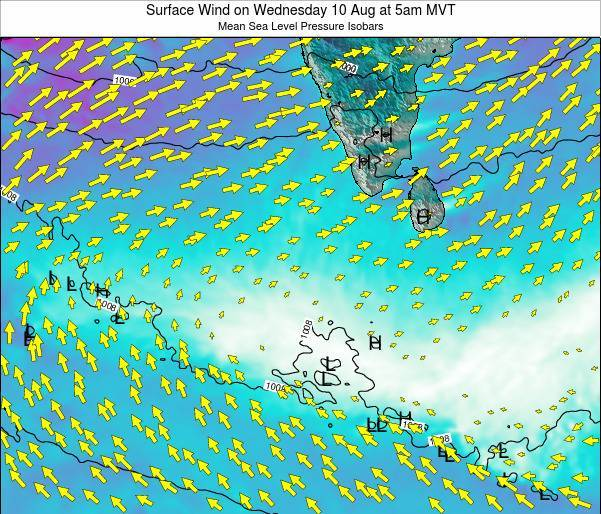 Maldives Surface Wind on Tuesday 29 Apr at 11am MVT map