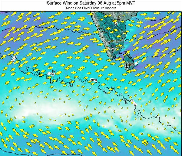 Maldives Surface Wind on Thursday 24 Apr at 11am MVT map