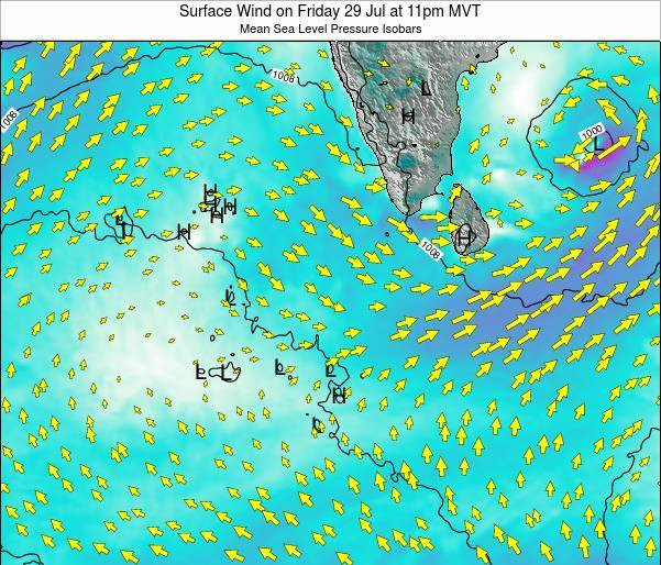 Maldives Surface Wind on Sunday 03 Aug at 5am MVT map
