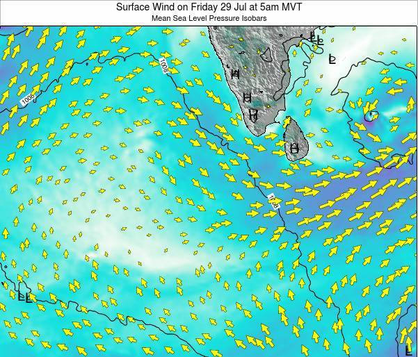 Maldives Surface Wind on Sunday 16 Mar at 11pm MVT map
