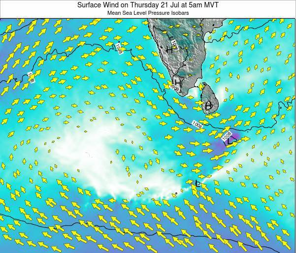 Maldives Surface Wind on Monday 27 May at 11pm MVT map