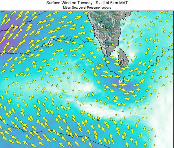 Sri Lanka Surface Wind on Tuesday 29 Jul at 11am MVT